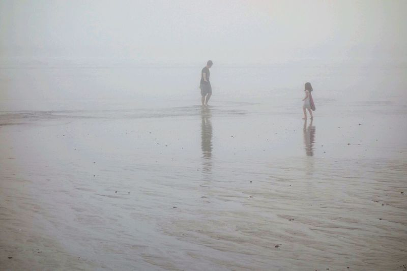 Streetphotography Monochrome People Fog Beachphotography Beach Life Is A Beach Julia On The Beach