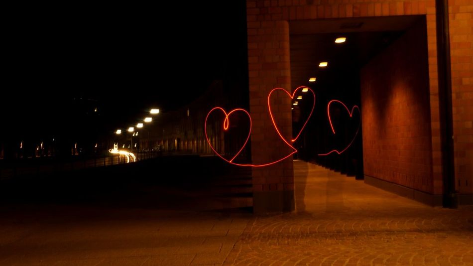 Spread the love! Night Illuminated No People Built Structure Architecture Indoors  Neon Lightpainting Hearts City Love Karlsruhe Red Hearts Spreadlove Lichtmalerei Lichtspiele Lightpaintingphotography Art Is Everywhere The Secret Spaces