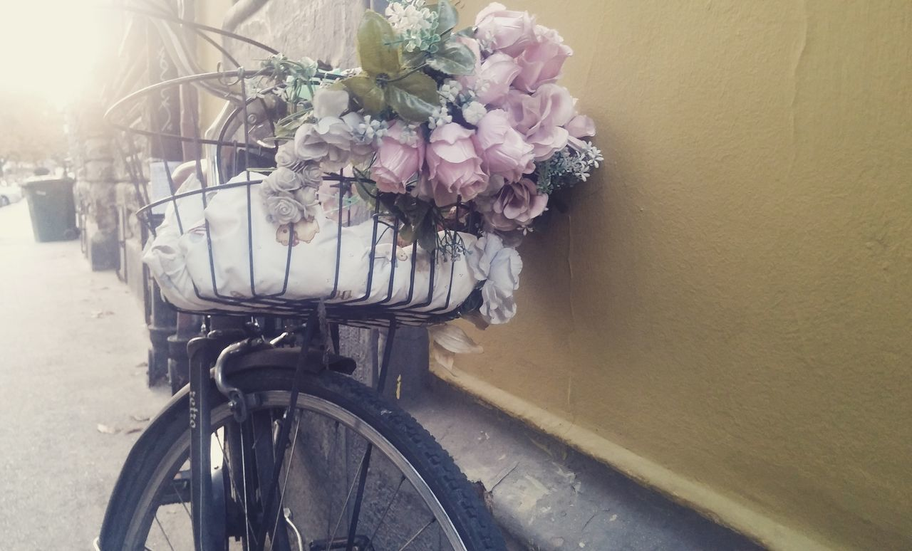 Roses Flowers Flowers Bouquet Bicycle Bicycle Leaning Against Wall Yellow Wall Romantic Light Serenity Springtime