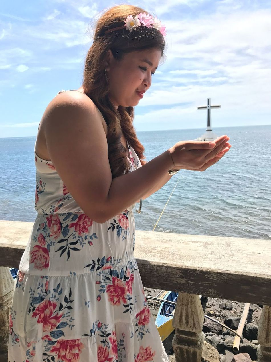 Sea Water Horizon Over Water Sky Real People Day Beach Standing Outdoors Lifestyles One Person Young Adult Leisure Activity Nature Scenics Young Women Beauty In Nature Camiguin Philippines Sunken Cemetery Travel Destinations Travel Travel Photography