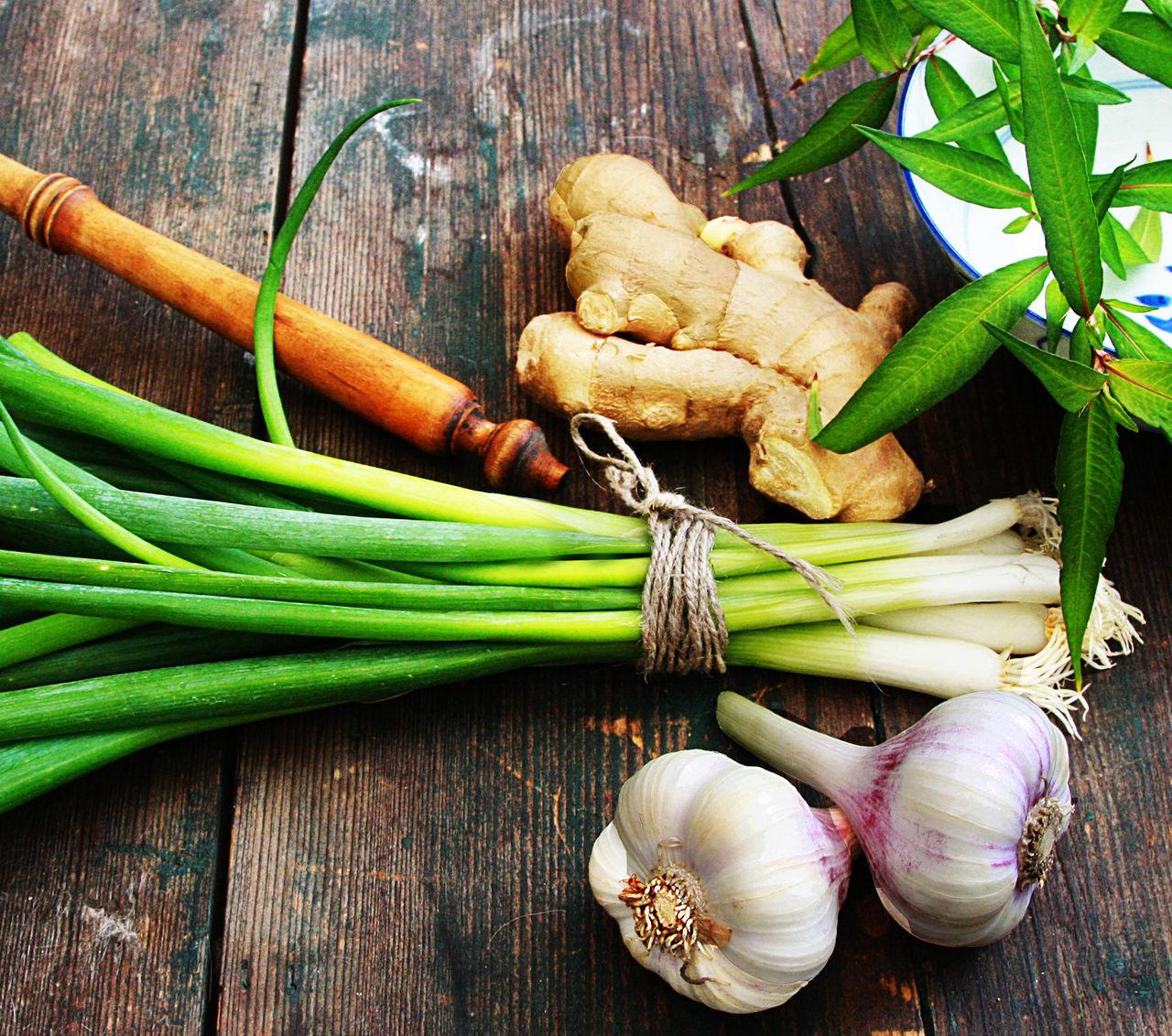 Aisa Food Freshness Garlic Girl Leek Thai Basil Vegetable Vintage