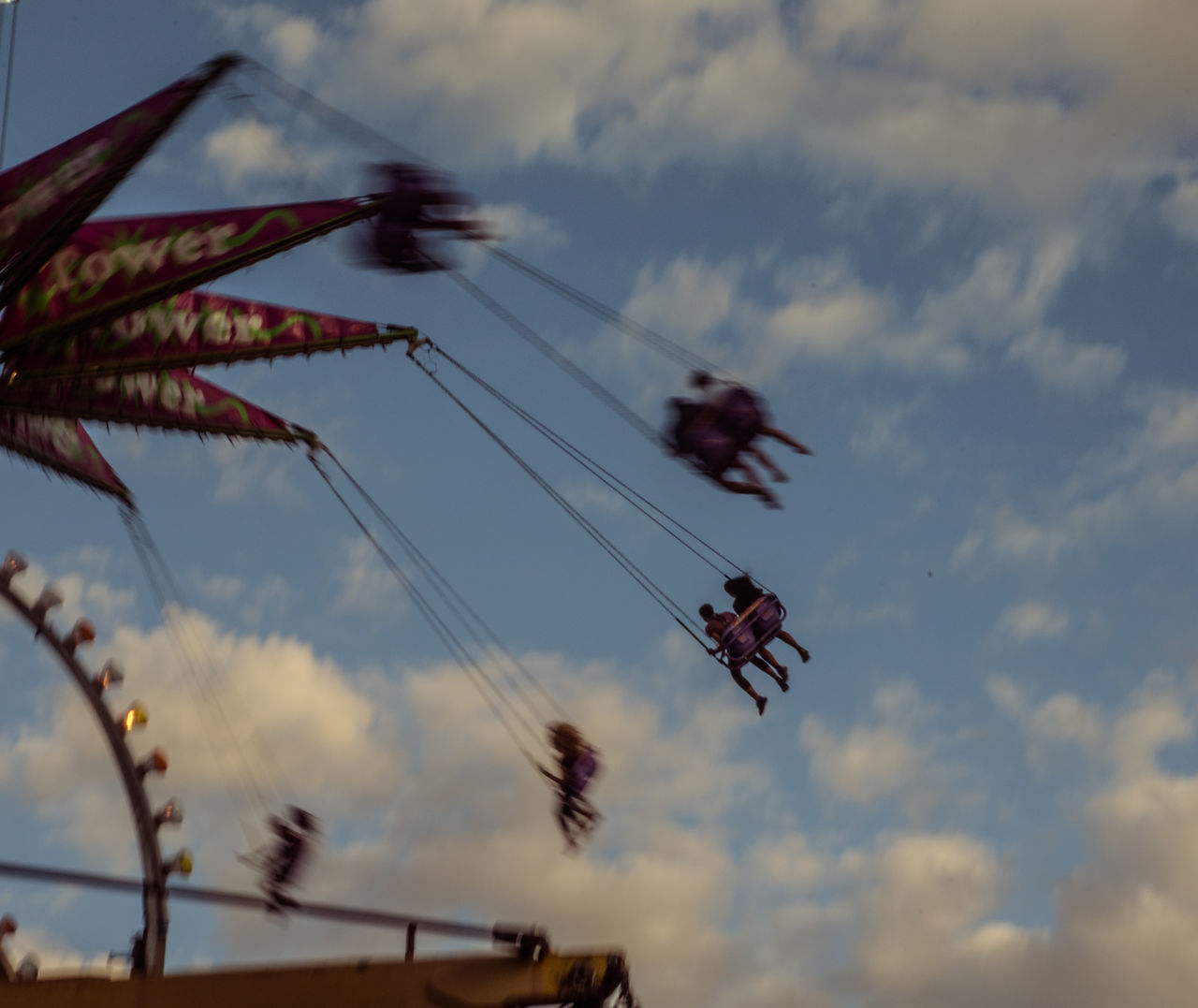 sky, cloud - sky, low angle view, celebration, multi colored, outdoors, teamwork, hanging, day, no people, airshow