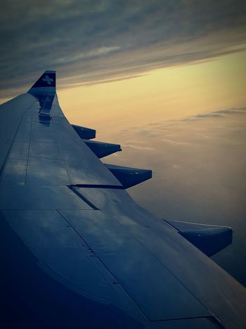 Flying Sunset Travel Blue Aerial View No People Nature Aerospace Industry Swiss Swissair Sea
