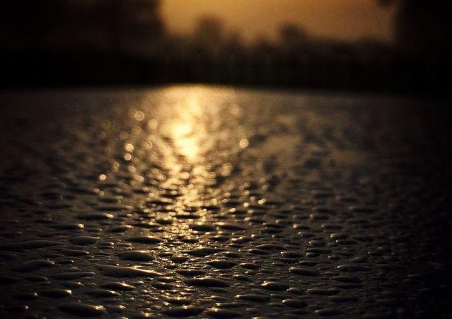 Raindrops Rain Textures And Surfaces Sunrise