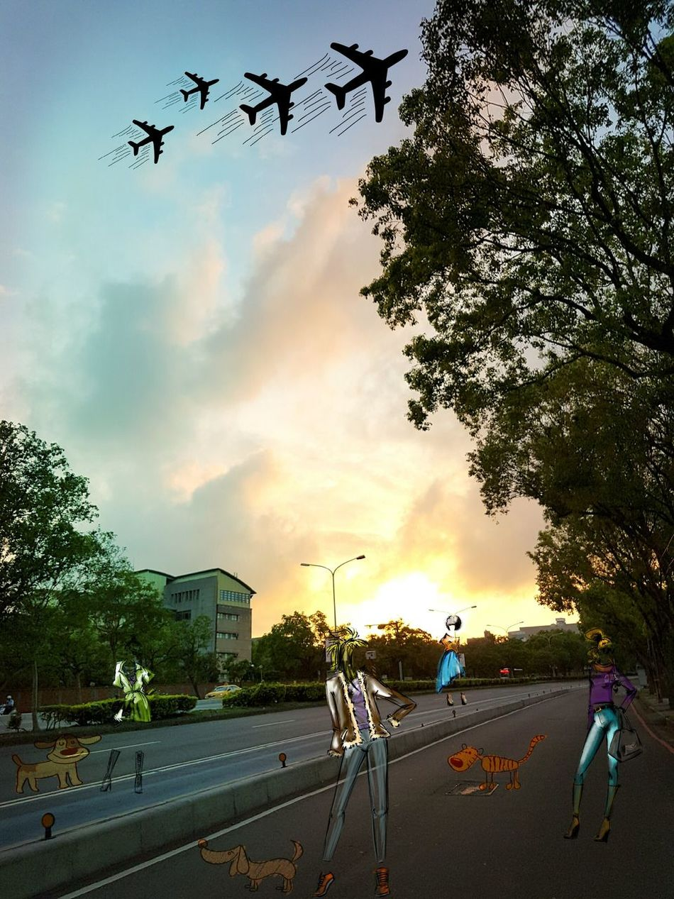 When colors add to world. Tree Horizontal Outdoors Sky People Day Outdoor Photography Multi Colored Taiwanese Fashionlook Dogslover Taiwanboulevard Road Roadtrip Saturdays Emptyroad Life