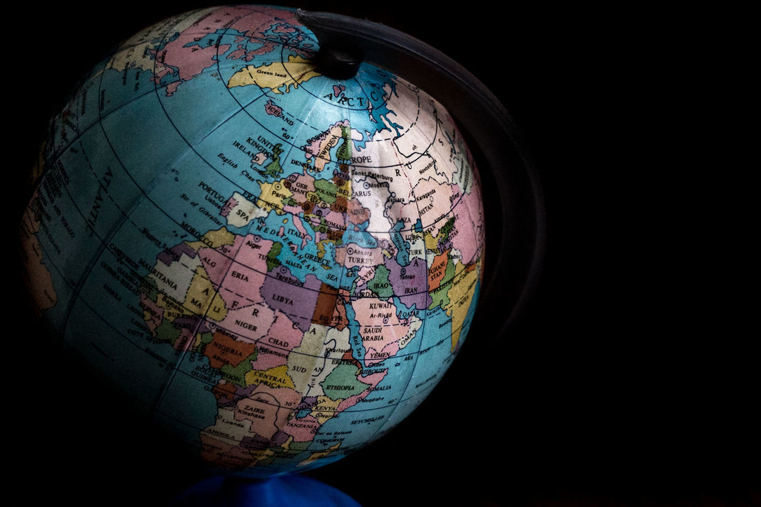 Globe with a political map on black background. Astronomy Background Ball Black Crisis Discovery Earth Emotion Europe Exploration Future Globe Globe - Man Made Object Map Map Physical Geography Planet Planet - Space Planet Earth Political Sphere Travel Whats Next? World World Map