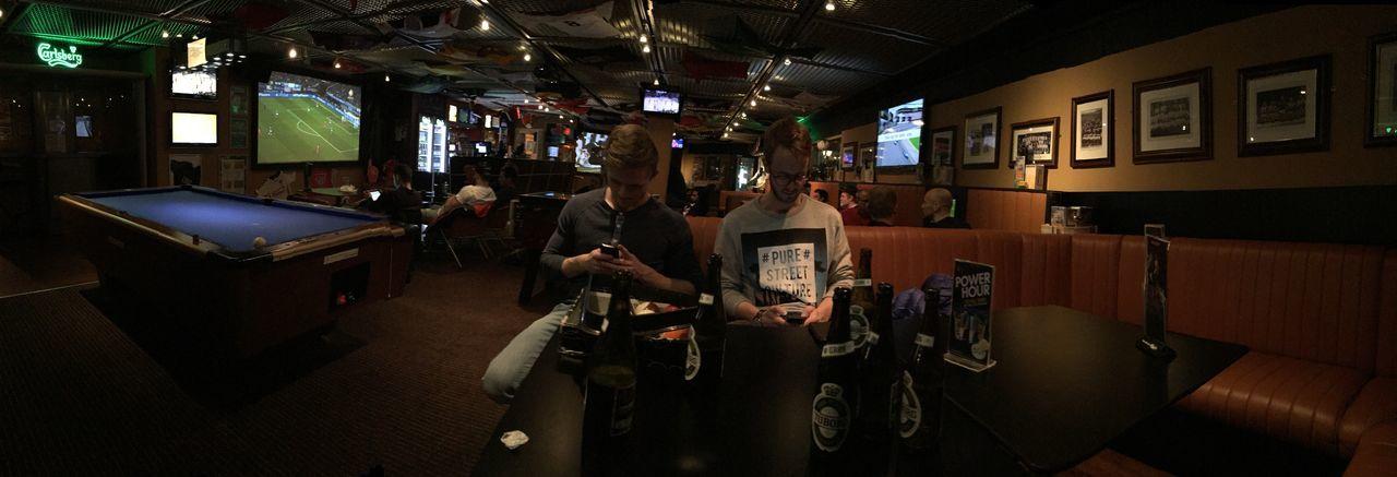 Generation iPhone Antisocial Bar Beer City Life Interior Men People Watching Pub
