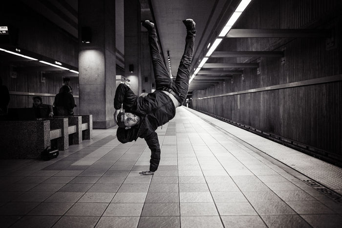 Architecture Breakdance Breakdancer Breakdancing Built Structure City Dancing Day Full Length Lifestyles One Person Outdoors People Subway Subway Station The Way Forward Walking Warm Clothing