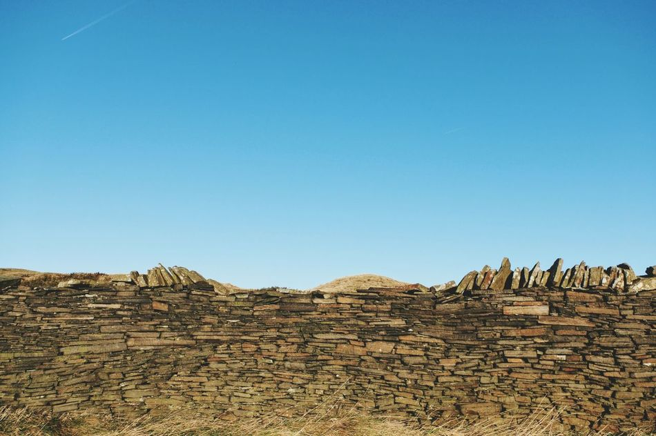 Blue Clear Sky No People Outdoors Sky Day Nature Landscapes Sunlight Lifestyles Wintertime Blue Sky Winter Scenics Wall Backgrounds Yorkshire Landscape Beauty In Nature Calderdale Tranquility Texture And Surfaces Stones Dry Stone Dry Stone Walling