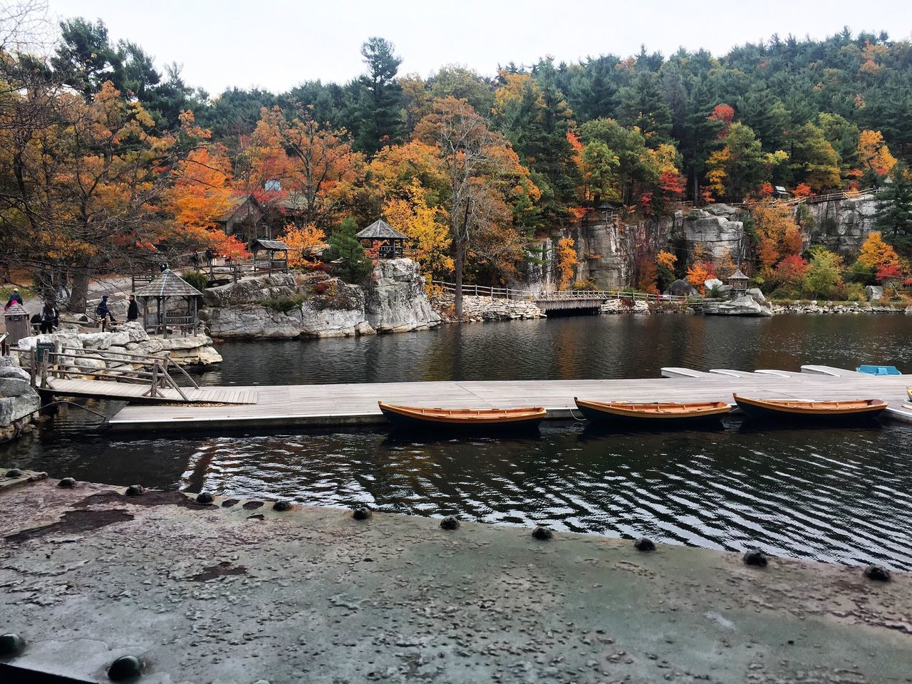 Autumn Boat Change Day Foliage Lake Lake View Mohonk Mountain House Mohonk Preserve Moored Nature Nautical Vessel New York State No People Outdoors Rocks Scenics Sky Transportation Travel Destinations Tree Water EyeEmNewHere