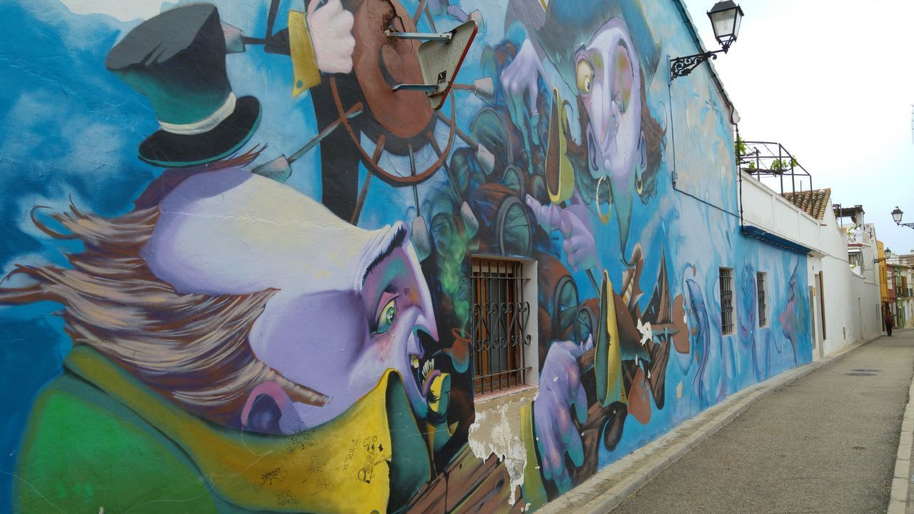 Architecture Art Art And Craft Battle Of The Cities Building Exterior Built Structure City Colorful Creativity Denia Multi Colored Mural No People Outdoors Sky Street Photography