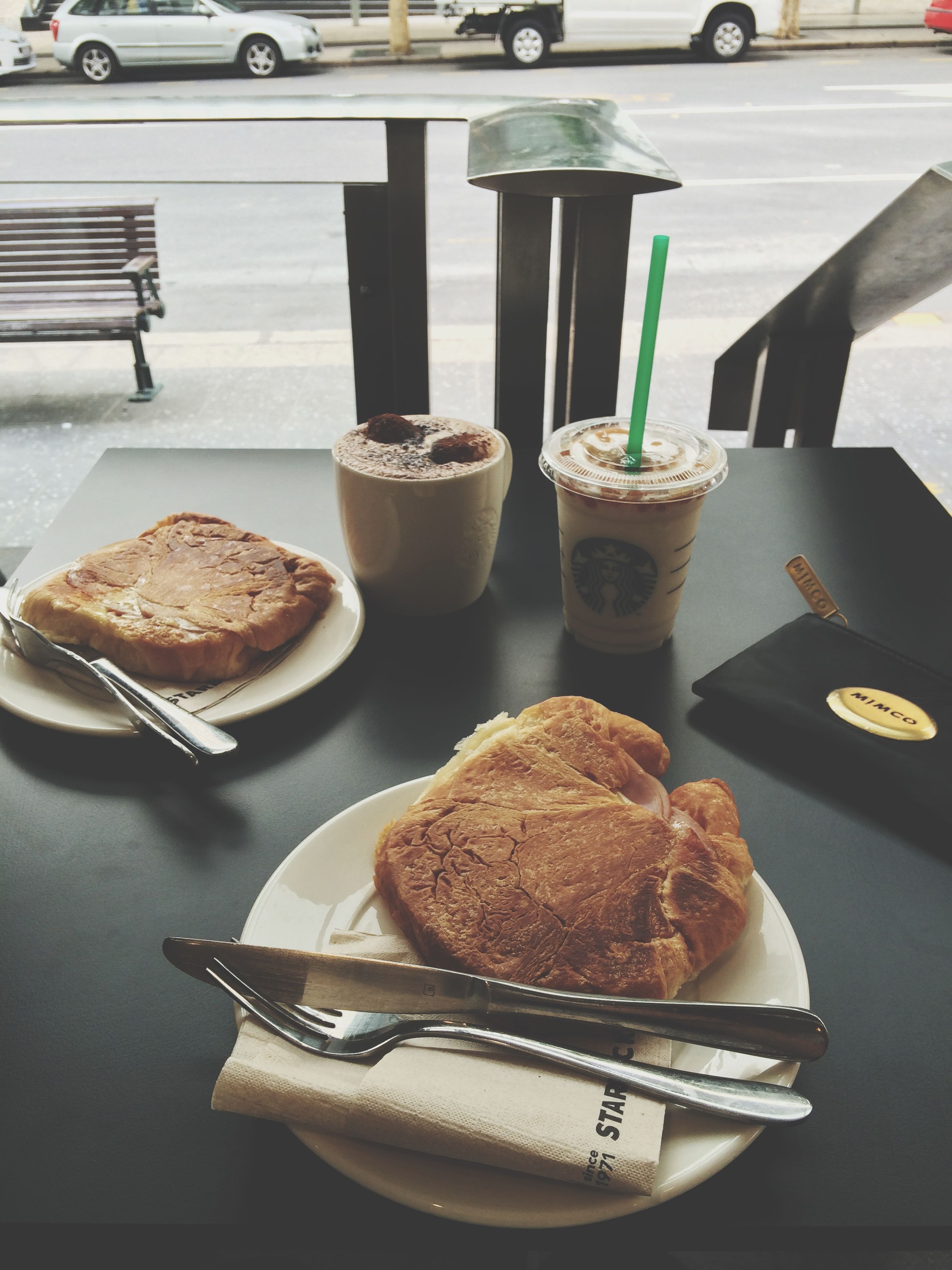 food and drink, food, indoors, sweet food, freshness, still life, table, dessert, unhealthy eating, ready-to-eat, indulgence, plate, cake, close-up, bread, focus on foreground, baked, breakfast, temptation, high angle view