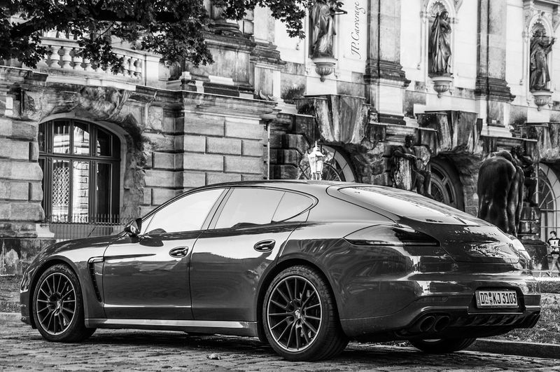 Land Vehicle Transportation Mode Of Transport Car Building Exterior Architecture Built Structure Stationary Parking Side View Street Roadside Parked Old-fashioned City Outside Porsche Panamera Outdoors Day Façade