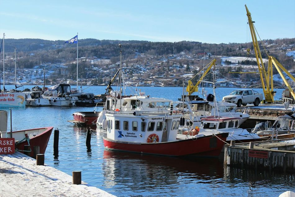 Nautical Vessel Harbor Moored Pier Commercial Dock Drøbak Harbour Oslofjord Norway Outdoors Sea_collection Sky Day Travel Destinations
