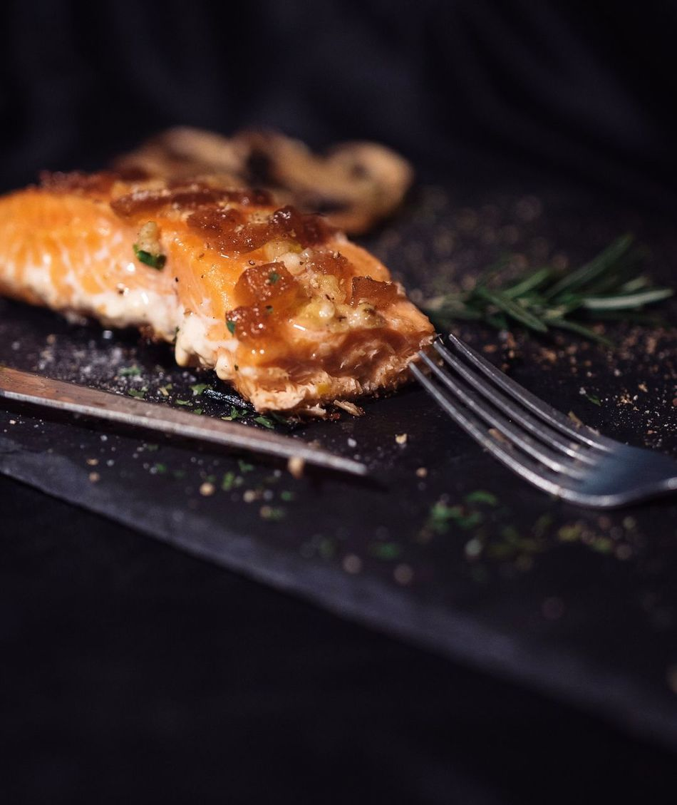 Salmon - Seafood Fish Isolated No People Freshness Healthy Eating Close-up Ready-to-eat Food Indoors  Day Fats Saumon Grilled Fish Onions Dinner