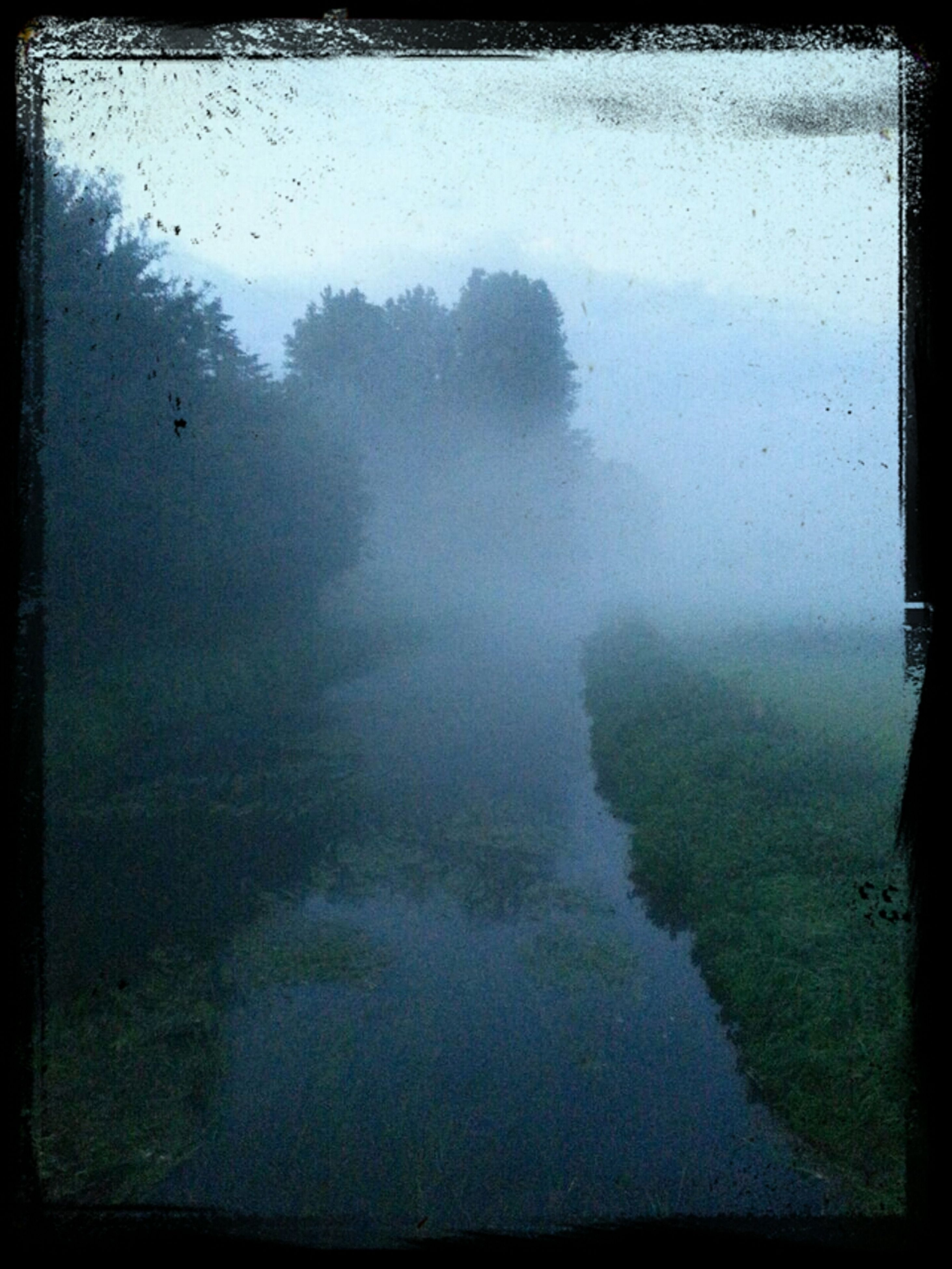 transfer print, auto post production filter, fog, foggy, water, weather, tranquility, tranquil scene, nature, scenics, landscape, beauty in nature, sky, tree, high angle view, field, outdoors, day, full frame, no people