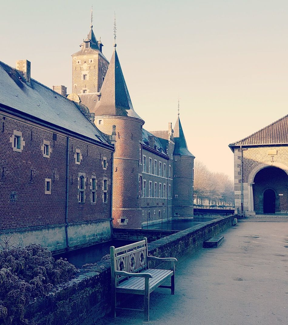 History Architecture Travel Destinations Outdoors Sky No People Building Exterior Day Water Castle Bench Park Frost Frosty Morning Round Tower Tower Moat Castle Tower Castle Moat Belgium Alden Biesen EyeEmNewHere Vintage Nostalgia Romantic