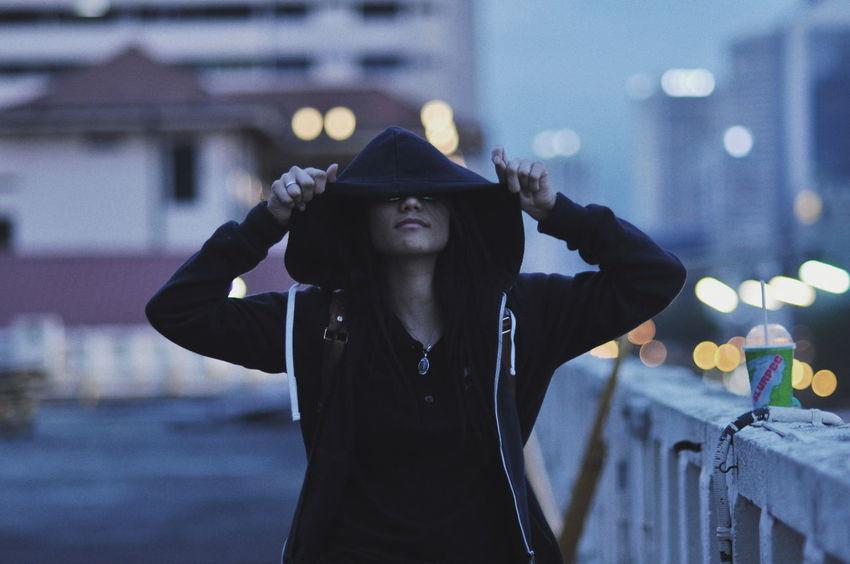 Bokeh Photography Rooftop Hoodiesup Night Warm Clothing Outdoors EyeEm Selects