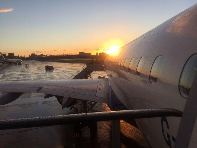 Boarding at sunset London City Airport Flight Airport Boarding Sunset Runway