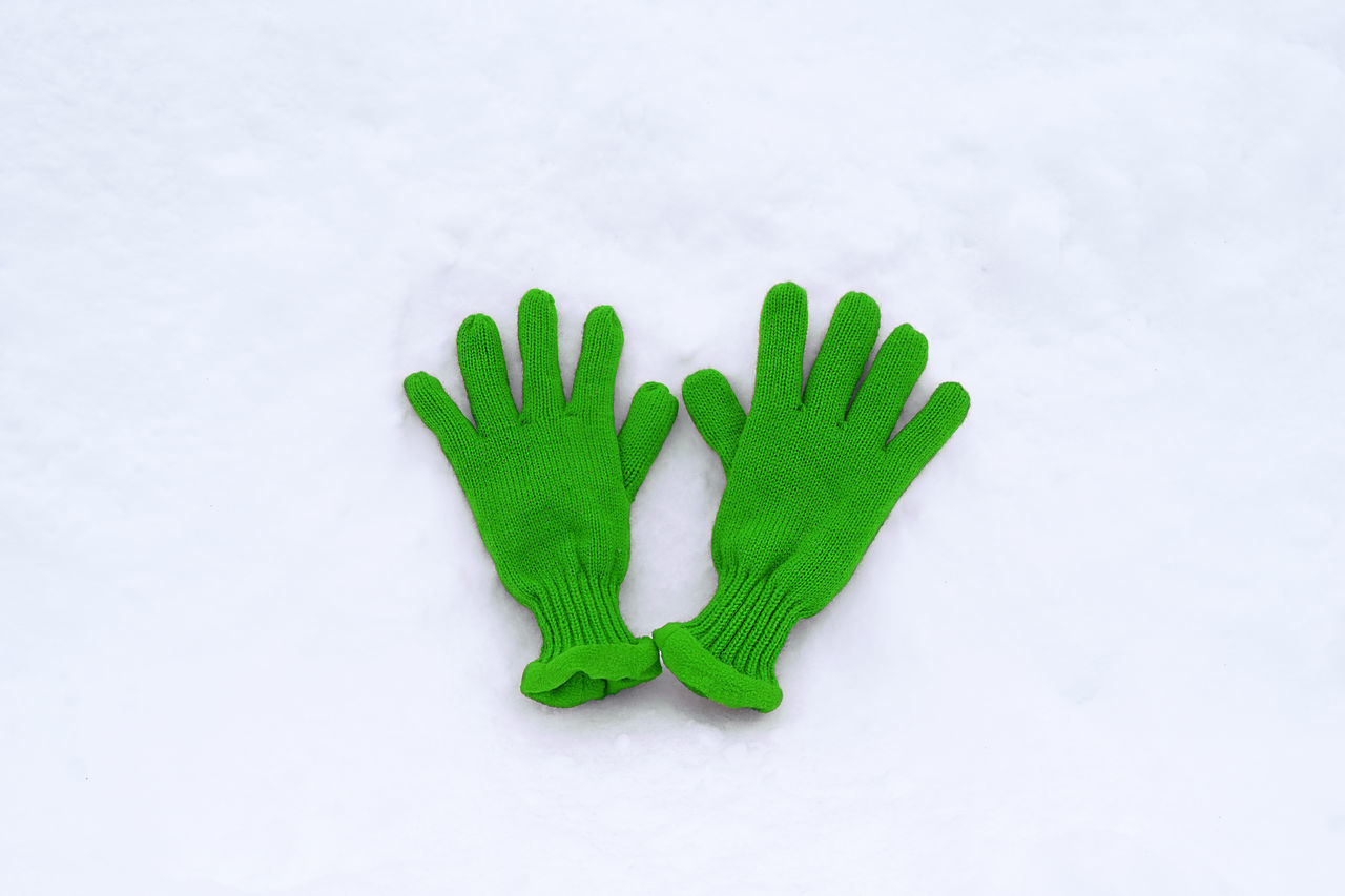 🙋 Minimalism Gloves Green Color White Background No People Close-up Winter Cold Temperature Snow Outdoors Togetherness Warm Clothing Goodbye