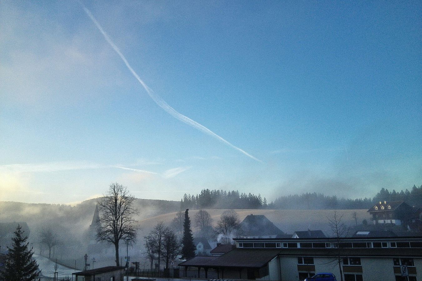 town in the morning fog 2016 Germany Schwarzwald