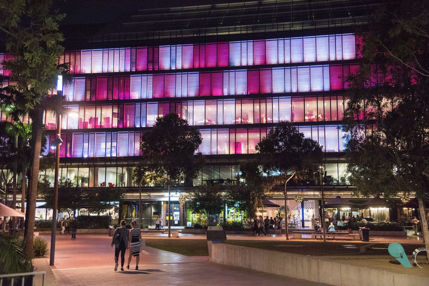 SYDNEY,NSW,AUSTRALIA-NOVEMBER 21,2016: Darling Quarter illuminated at night with people in Sydney, Australia Architecture Australia City Solar Tourist Art Building Exterior Colorful Colorfull Darling Darling Quarter Illuminated Incidental People Installation Interactive  Light And Shadow Lighting Luminous Outdoors Pink Color Quarter  Sydney Tumbalong Vibrant Walking