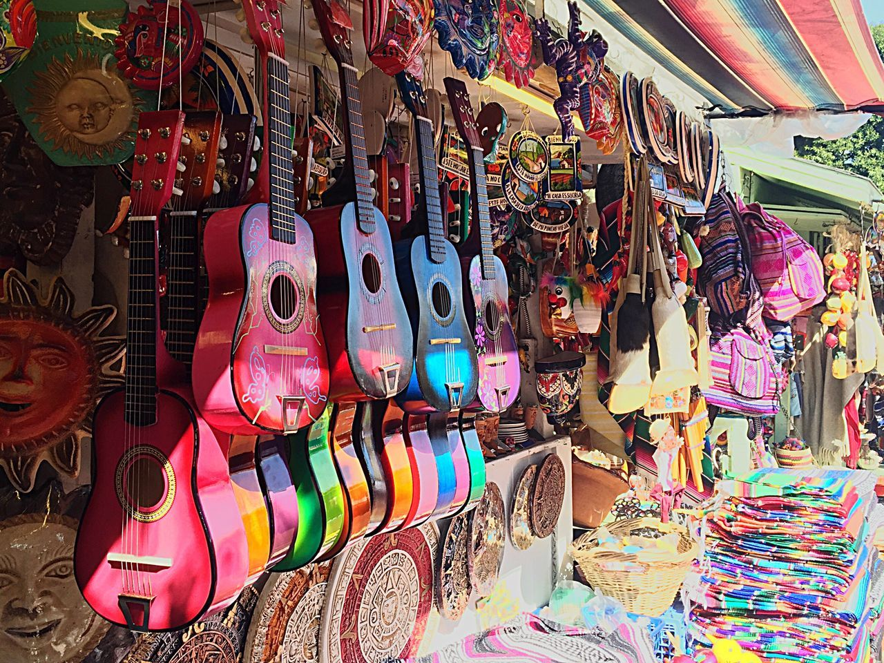 Various Colorful Objects For Sale At Market