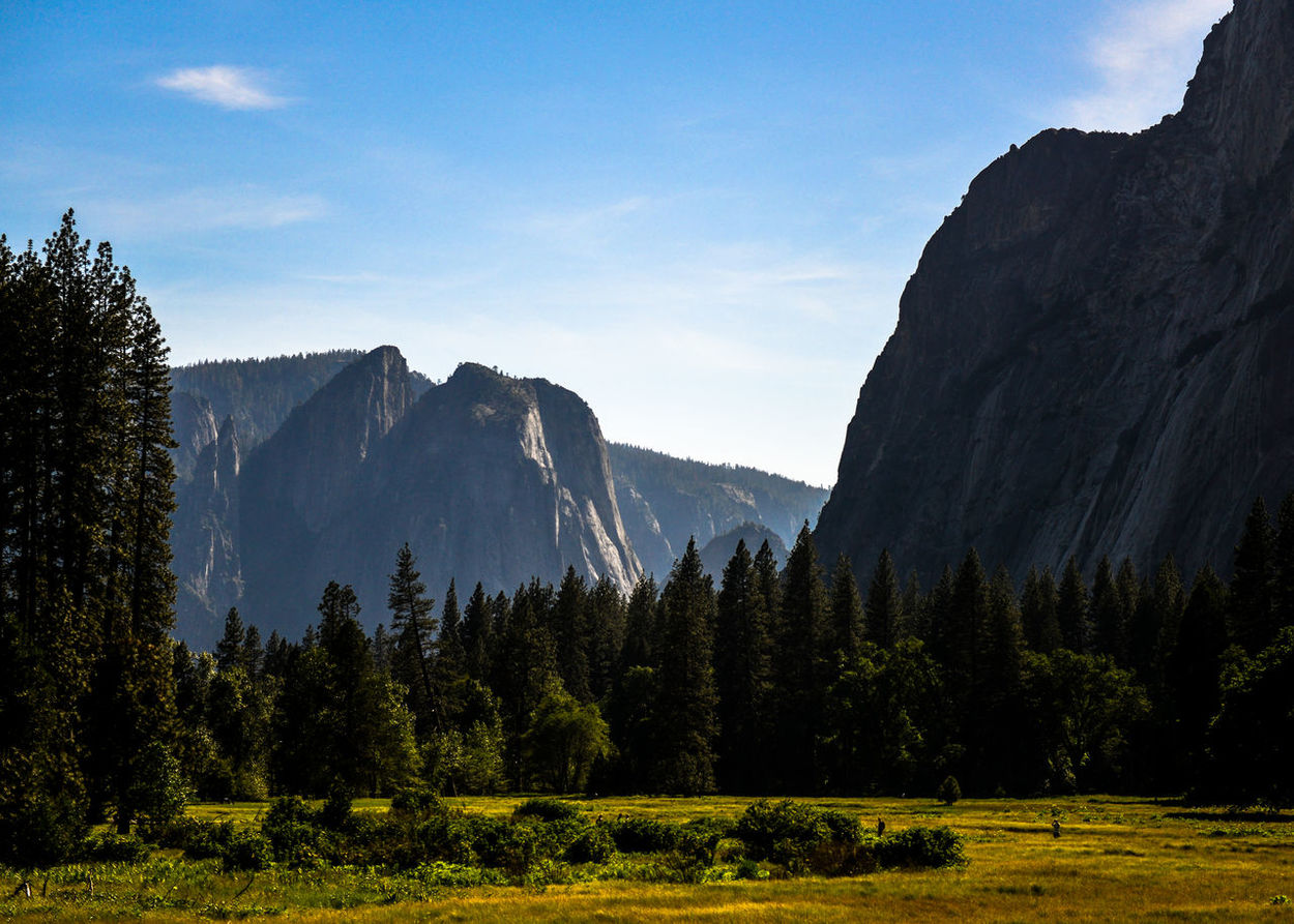 Blue Sky Clear Sky Colors Grass Hazy  Mountains Nature Rocks Trees Tunnel View - Yosemite National Park Yosemite National Park