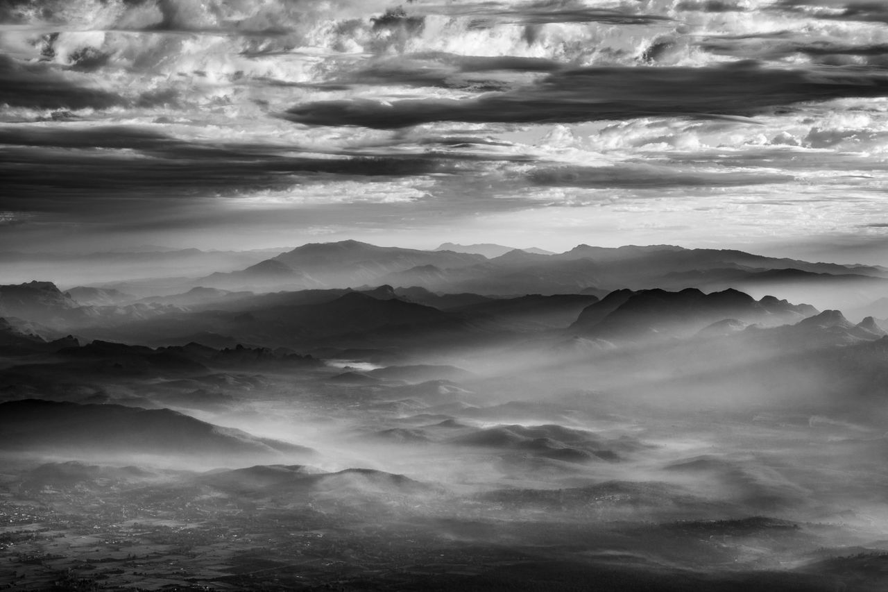 Morning light at Doi Luang Chiang Dao Mountains in black and white tone. Chiang Dao Chiang Mai | Thailand Cloud Cloud - Sky Cloudscape Cloudy Doi Luang Doi Luang Chiang Dao Doi Luang, Chiang Dao Landscape Light Mist Morning Mountain Mountain Range Mountains Nationalpark Nature Nature Outdoors Scenics Sky Thailand Travel Weather