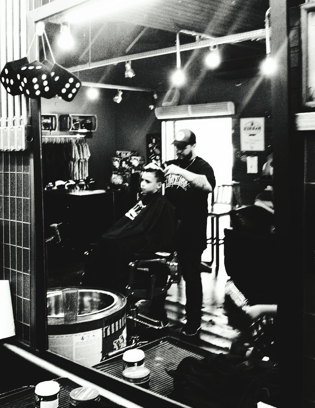 Two People Indoors  Arts Culture And Entertainment People Sitting Child Hair Style Barbershop Indoors  Haircut Blac&white  Black And White Collection