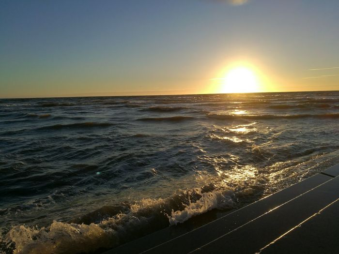 Sunset Sea Waves Crashing Waves  Foaming Water Sun Orange Orange Sky Reflections In The Water Reflections Bright