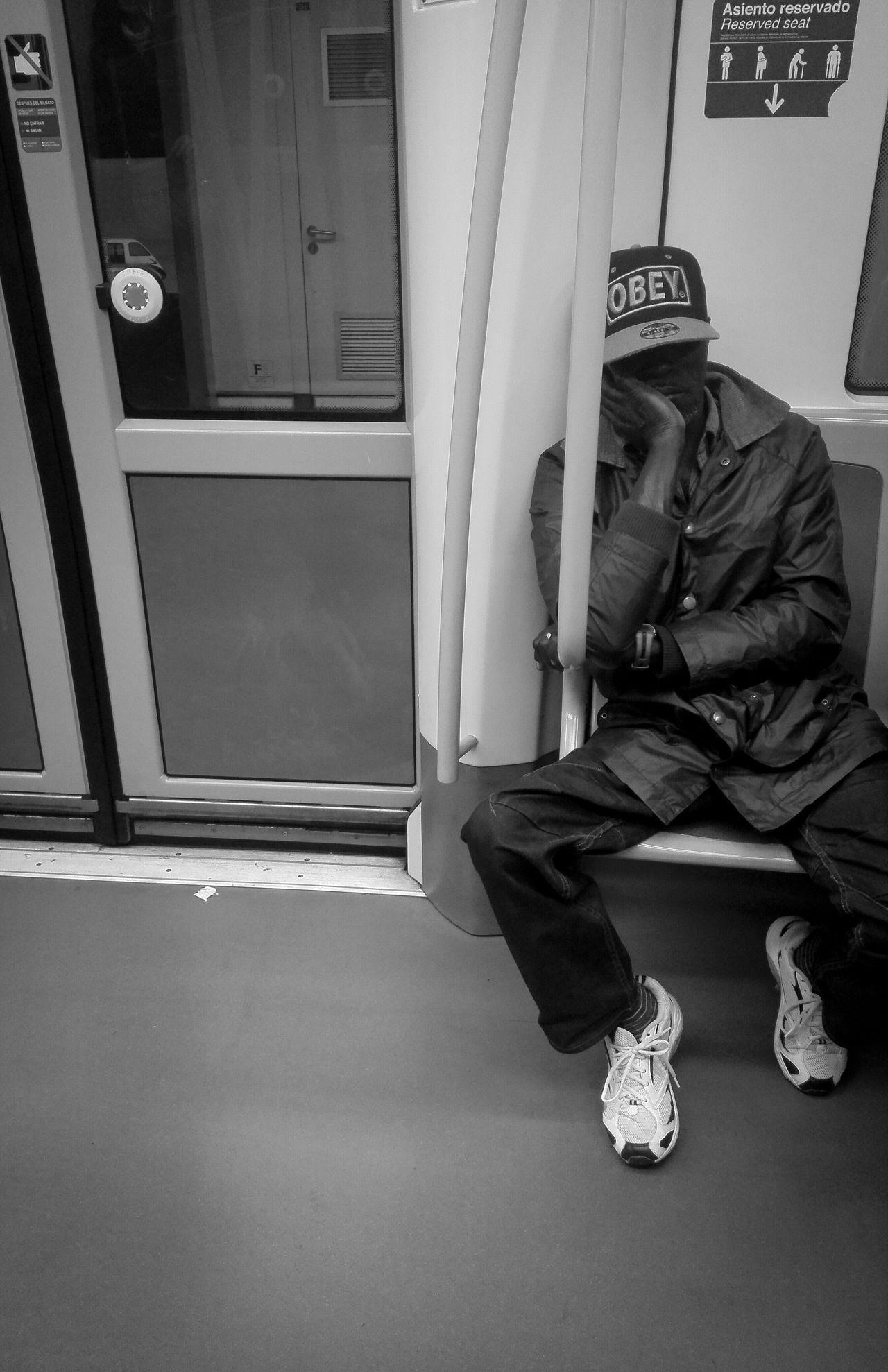 OBEY Underground Undergroundphotography Bnw Blackandwhite Blackman Seating Blanco Y Negro Bnw Photography Bnw_collection Bnw_captures Bnw_society Bnw_life