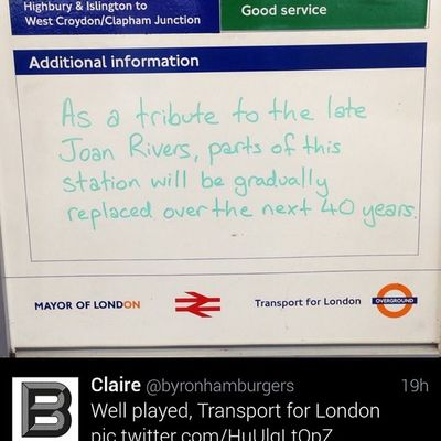 Funny RIPjoanrivers tribute message on TransportForLondon , England Overground transit at HackneyWick Station from early Friday AM. Authored by Ben Mathis, @Binny_UK, on Twitter.