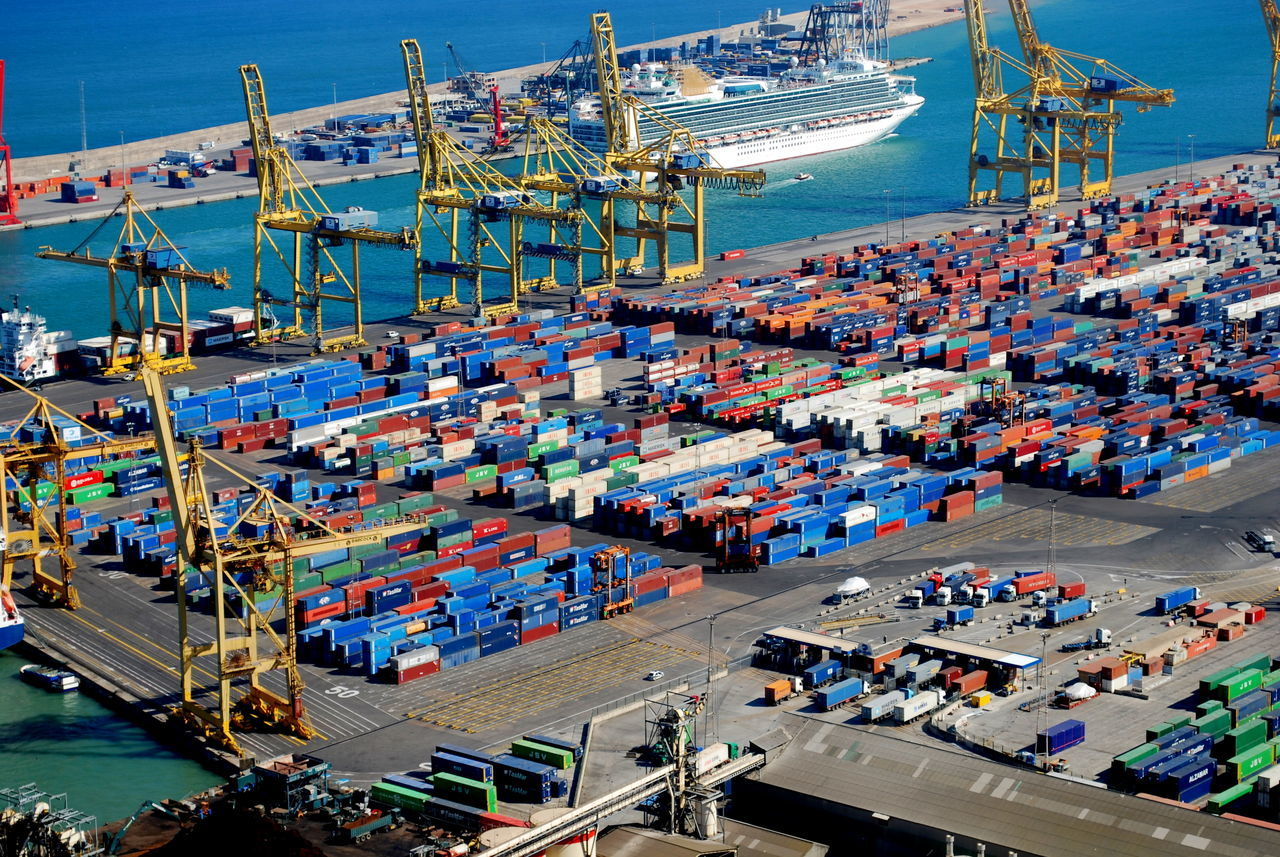 Aerial View Business Business Finance And Industry Cargo Container Commercial Dock Day Harbor High Angle View Industry Nautical Vessel No People Occupation Outdoors Sea Shipping  Sky Trading Transportation Warehouse Water