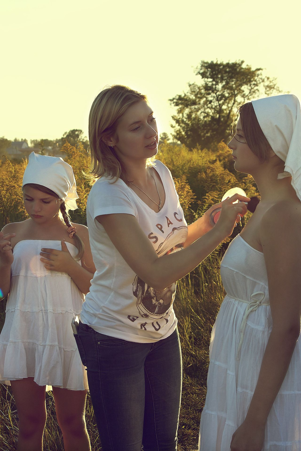 Memory of summer Russia Child Fun Girls Togetherness Females Sunlight Childhood People Lifestyles Summer Outdoors Bonding Friendship Leisure Activity Adult Happiness Young Women Tree Day Young Adult Portrait