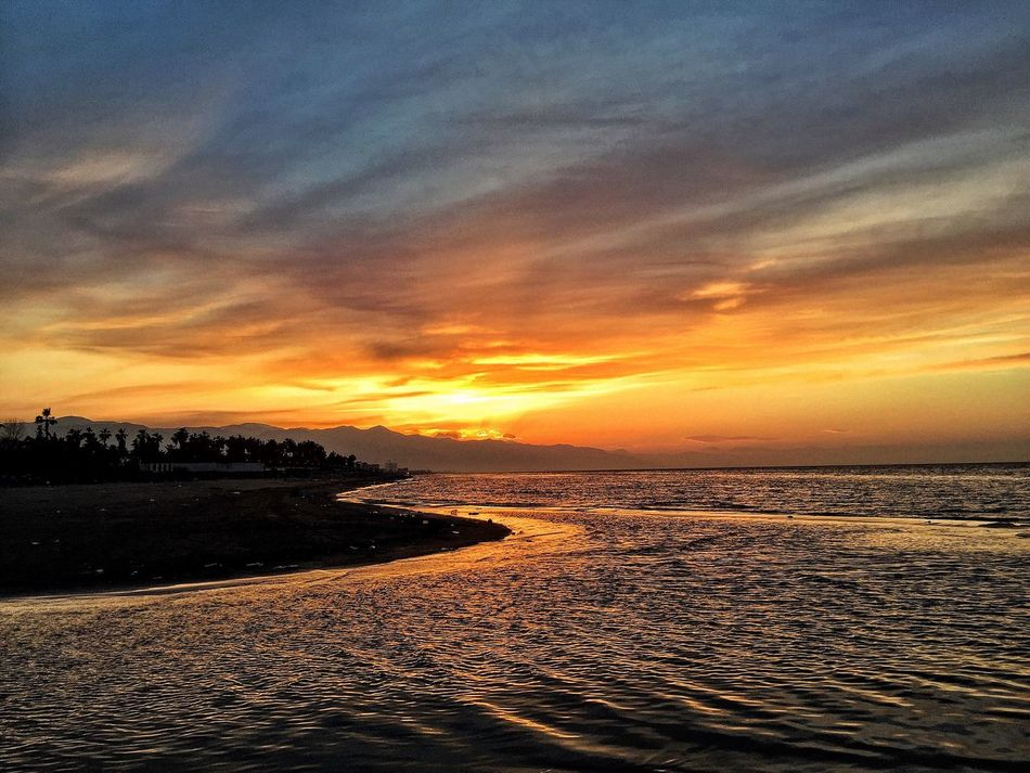 Caspian Sea Sunset Beach Sea Water Nature Beauty In Nature Scenics Sky Sand Horizon Over Water Tranquility Outdoors Shore No People Tranquil Scene Cloud - Sky Day Iran
