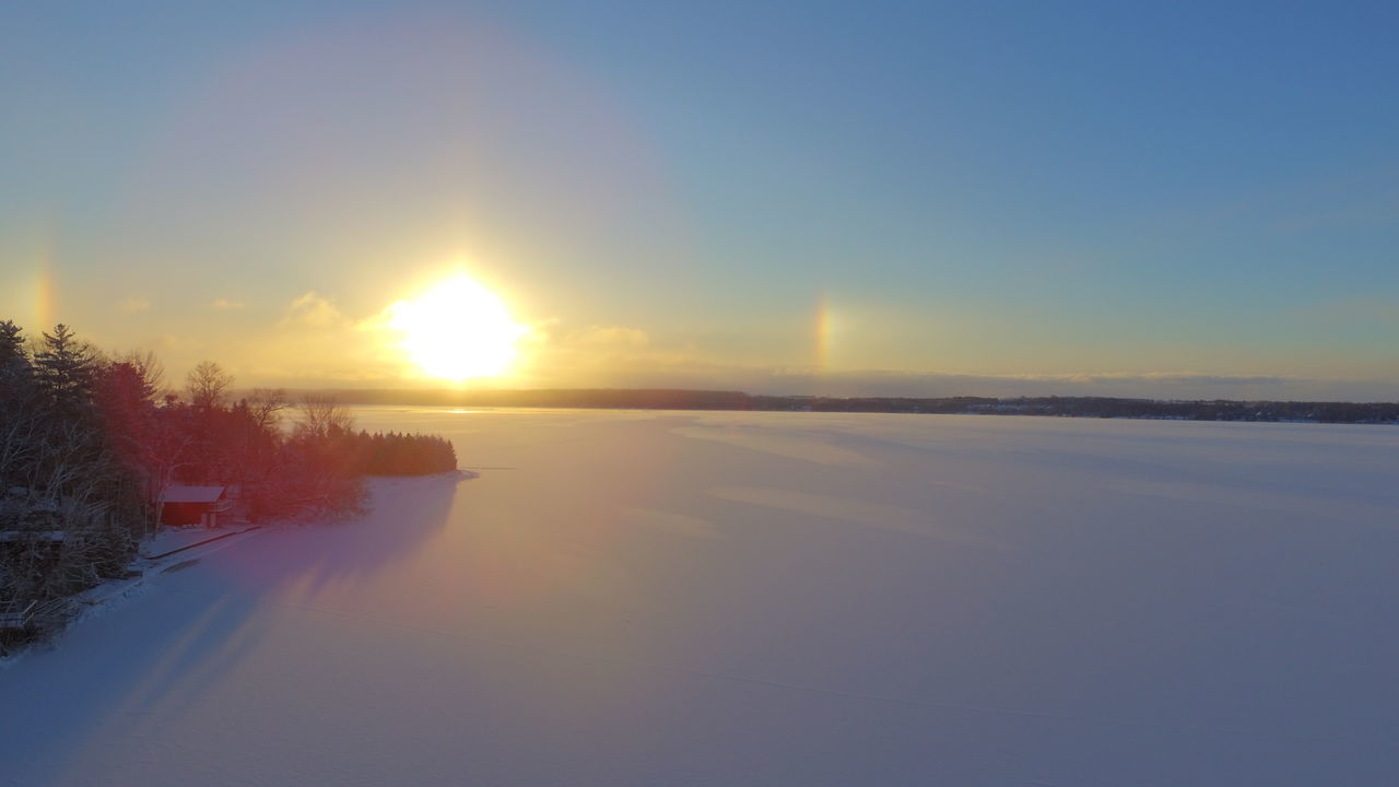 Beauty In Nature Frsh Snow Horizon Over Water Landscape Rainbow🌈 Reflection Snow Covered Sunrise Tranquility