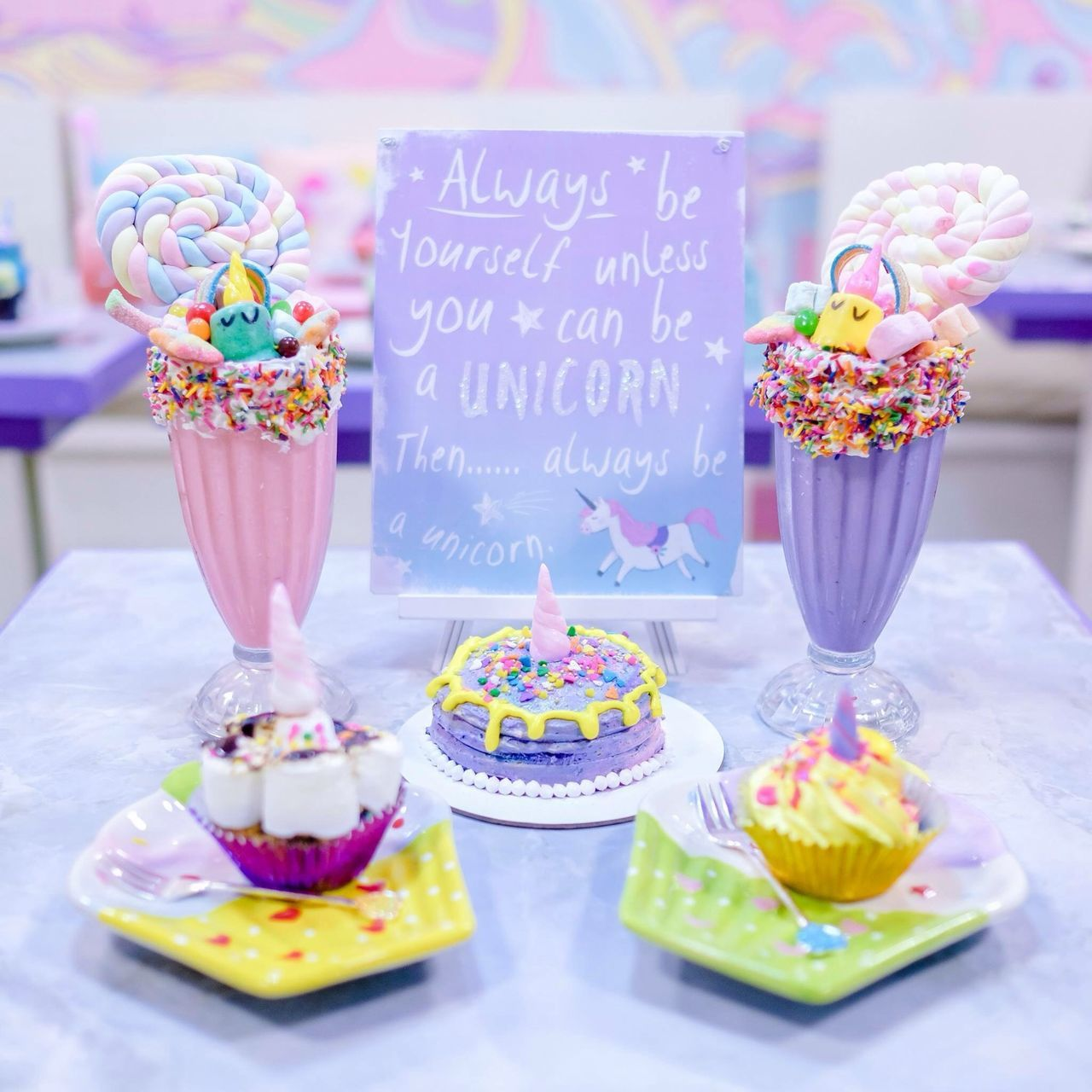 Birthday Cake Cake Candy Celebration Cupcake Dessert Dessert Topping Food Food And Drink Freshness Indulgence Multi Colored No People Party - Social Event Pastel Pastel Power Ready-to-eat Sprinkles Sweet Food Table Temptation Text Unicorn Unicorn Cafe Wedding Cake