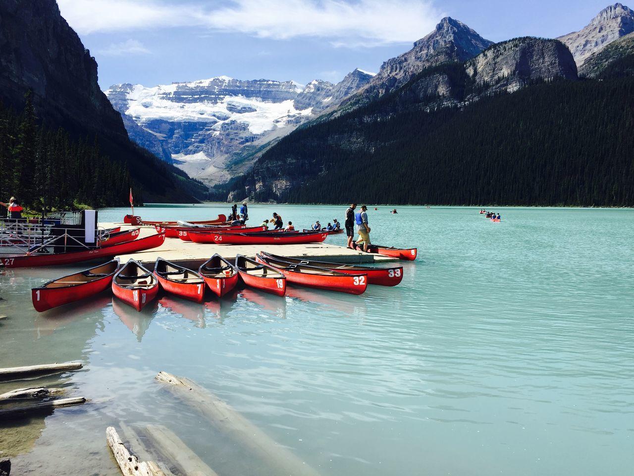 Canoes Mountain Mountain Range Outdoors Snow