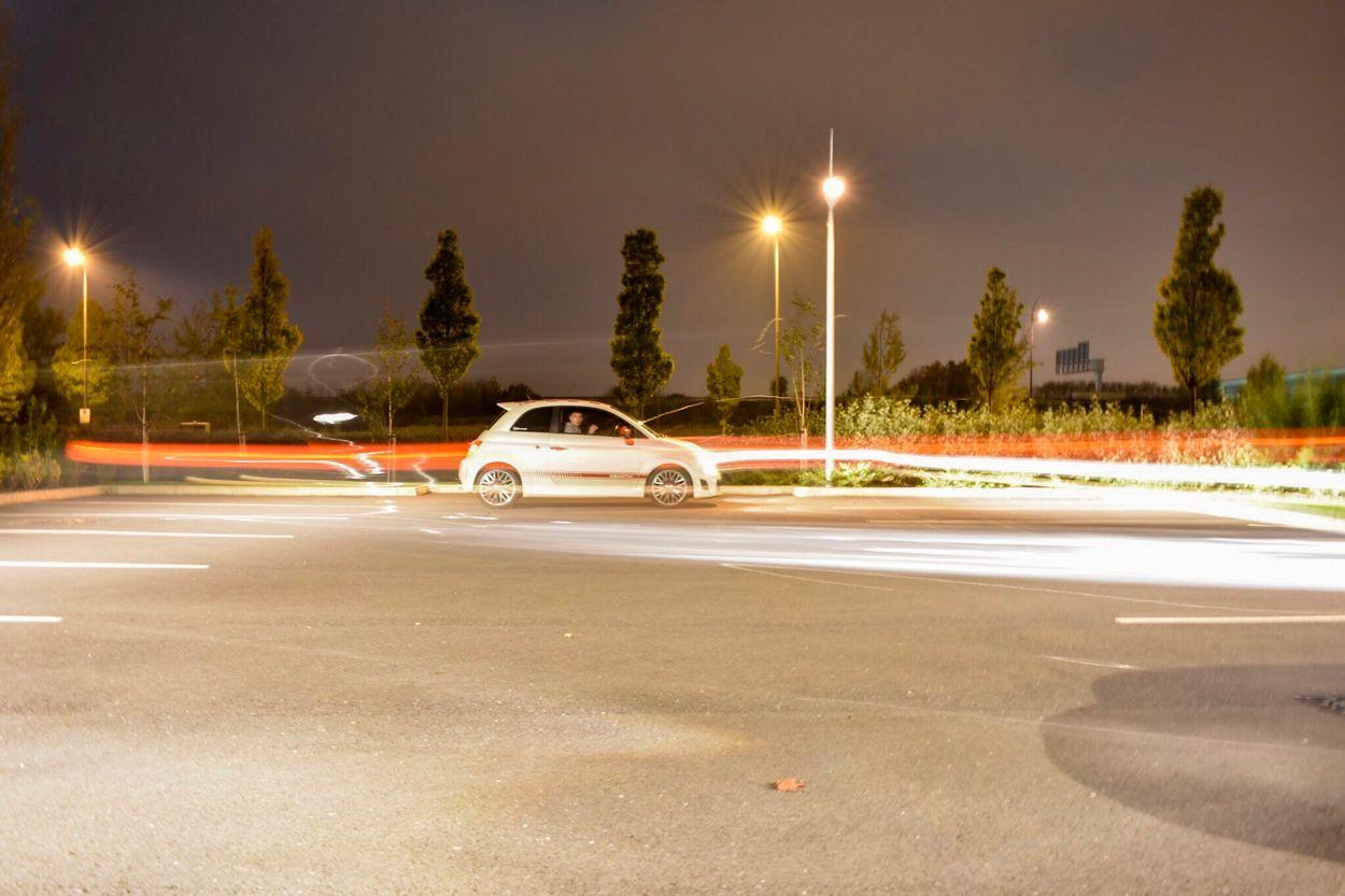 Car Transportation Illuminated Street Light Speed Night Land Vehicle Road Mode Of Transport Motion Tree Outdoors No People Sky Abarth