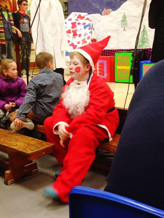 Zacs really not sure about this costume? Tadaa Community Christmas School Play Santa
