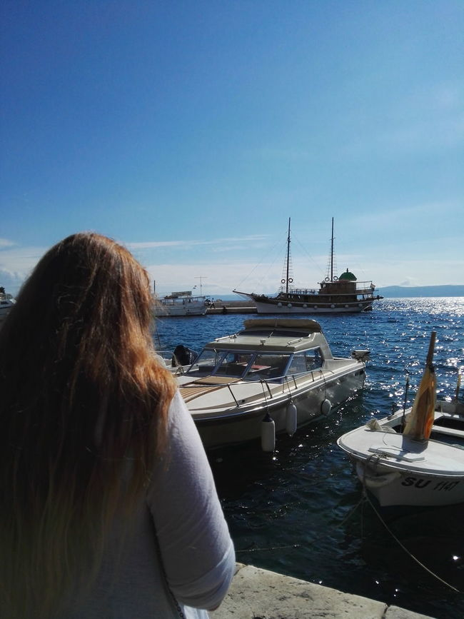 Rear View Person Water Sea Long Hair Clear Sky Sky Blue Day Tourism Vacations Harbor Beauty In Nature Nature Croatia Croatia ❤ Adriatic Coast Island BRAČ Sunlight Ship Ships
