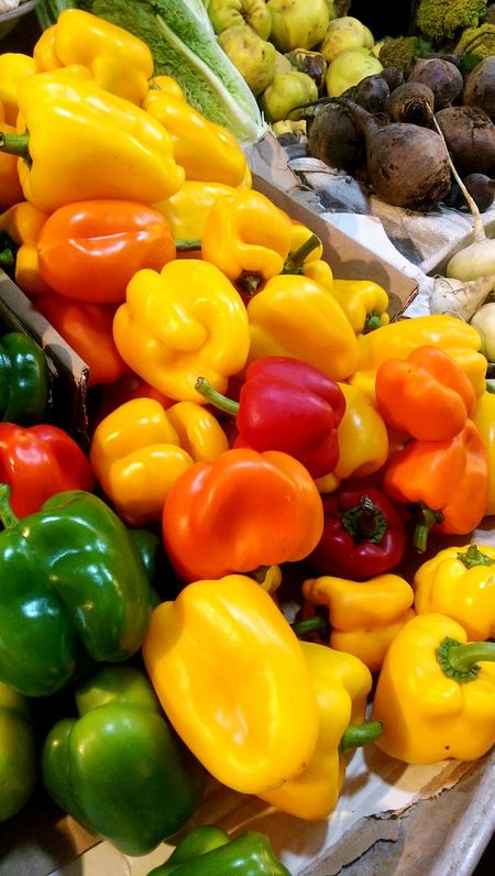 Vegetable Red Bell Pepper Bell Pepper Freshness Yellow Bell Pepper Abundance No People Yellow Backgrounds Full Frame Multi Colored Variation Large Group Of Objects Outdoors Day Close-up Beauty Iran نور Kermanshah کرمانشاه Orange Red Freshness در طویله