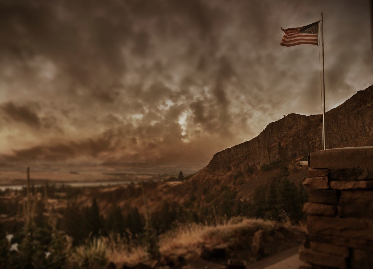 flag, patriotism, cloud - sky, sky, sunset, no people, outdoors, nature, architecture, beauty in nature, day, stars and stripes