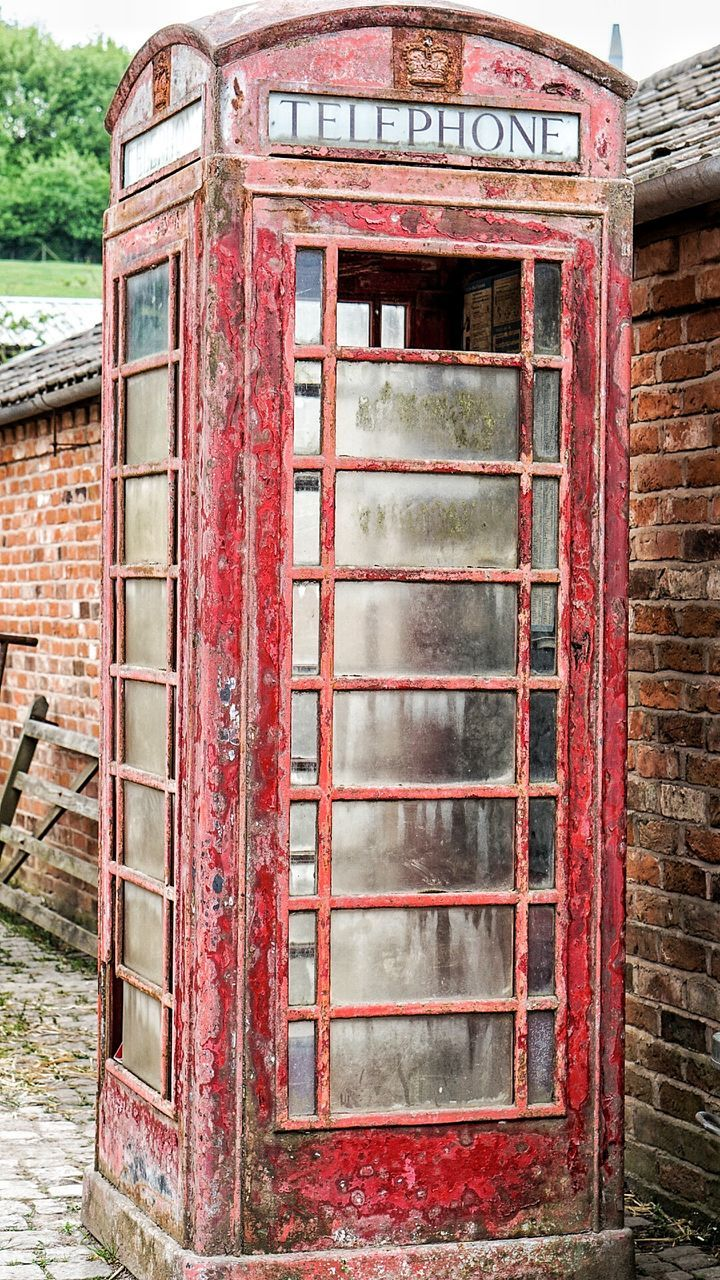 red, day, no people, abandoned, outdoors, communication, old-fashioned, close-up, telephone booth, nature