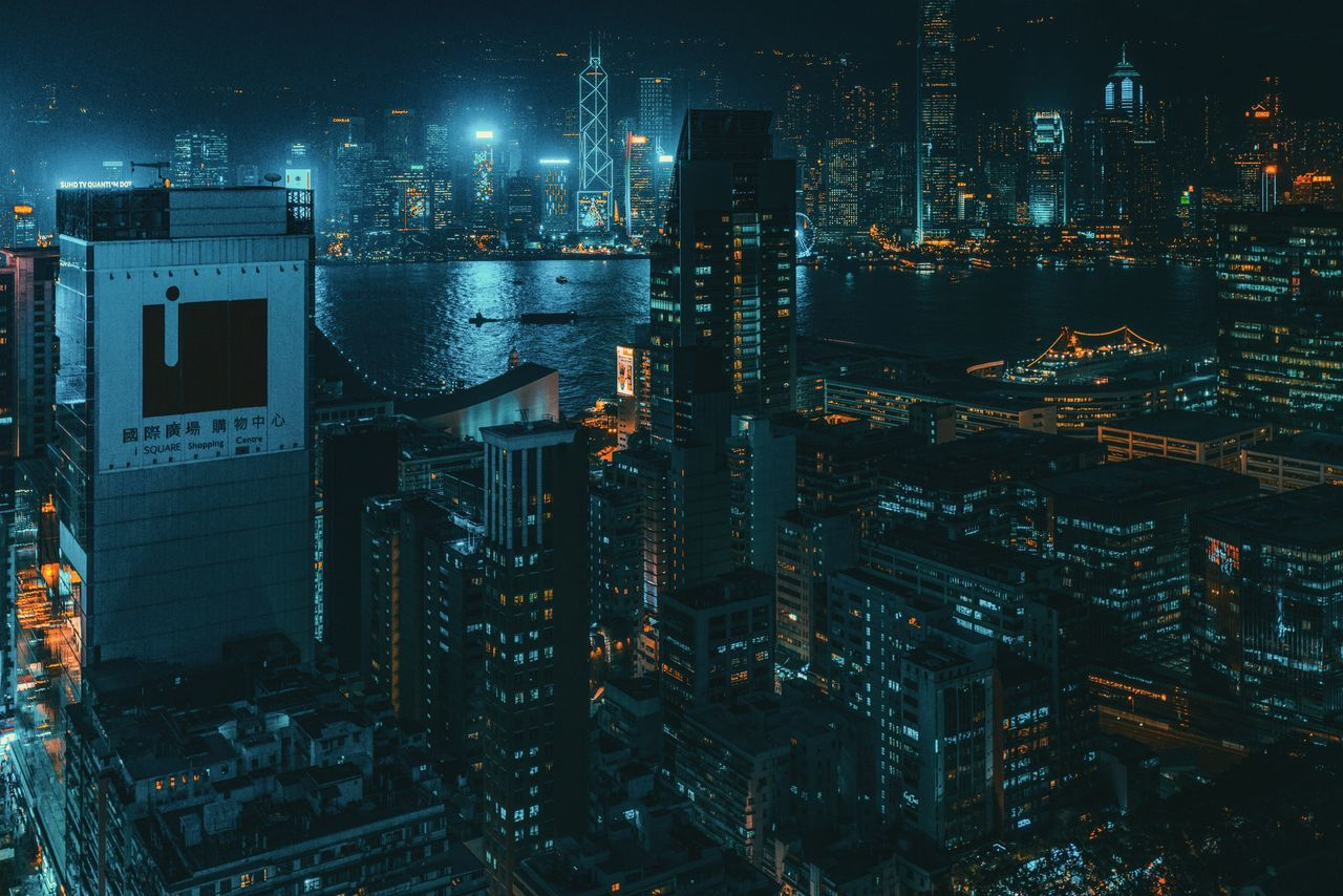 illuminated, night, architecture, building exterior, city, built structure, no people, cityscape, skyscraper, outdoors, travel destinations, modern