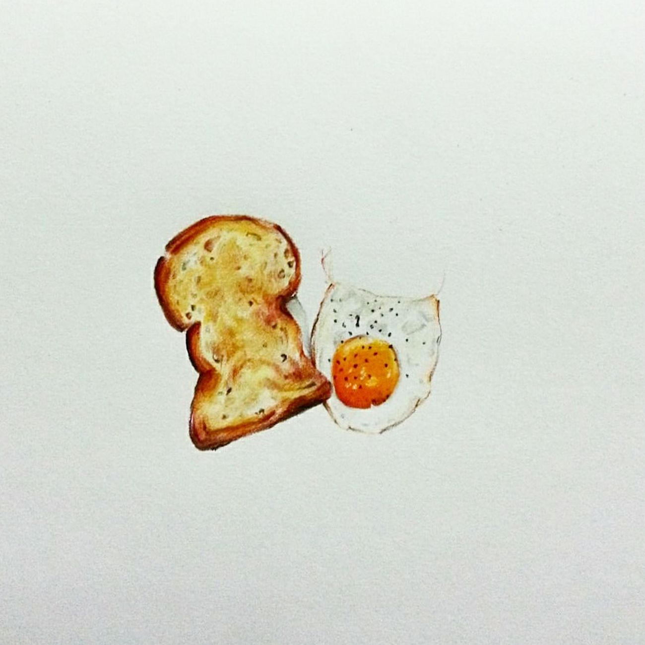 Art Food Breakfast Fried Egg Toasted Bread Egg Yolk Art, Drawing, Creativity Illustration Colorpencils Minimal Foodie Sketch Fineart .