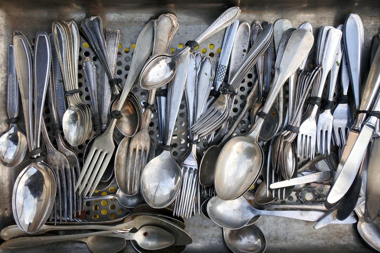 Drawer Flea Markets Fleamarket Fork Forks Knives Metal Metallic Organized Reflection Spoons Vintage