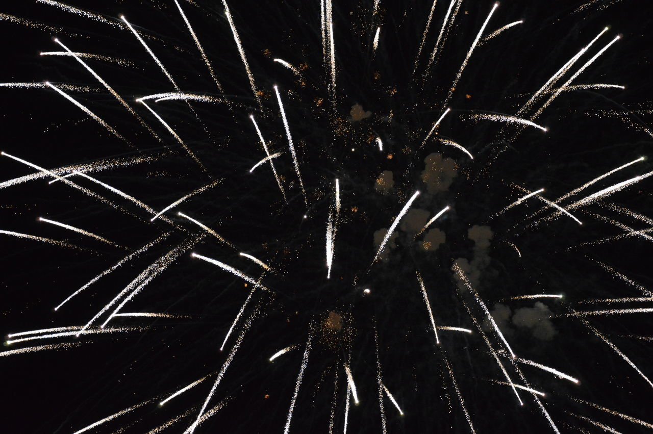 pattern, backgrounds, exploding, night, destruction, black color, motion, full frame, no people, close-up, indoors, black background