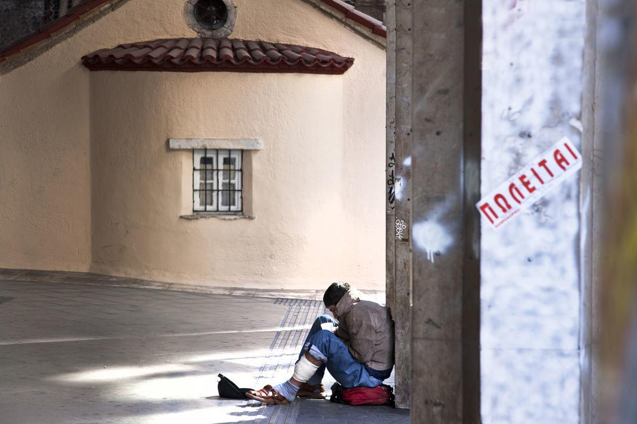 ΠΩΛΕΙΤΑΙ ( FOR SALE) Architecture Athens Austerity Building Exterior Church Crisis Damaged Drugs Financial Crisis For Sale Greece Homeless Jobless Man Obsolete Old Residential Structure Wall Window Youngman